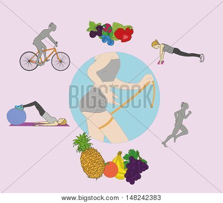 slender woman measures the size of her thigh with tape, hand drawing vector illustration in circle. exercise and nutrition for weight loss.