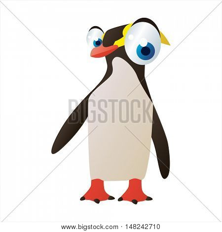 vector cool image of animal. Funny happy Yellow Penguin