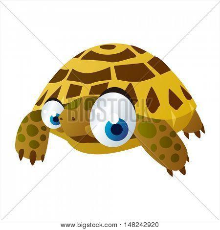 vector cool image of animal. Funny happy Tortoise