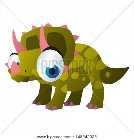 vector cool image of animal. Funny happy Triceratops