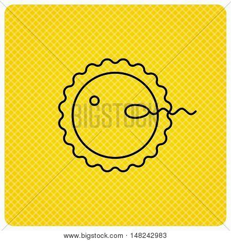 Fertilization icon. Pregnancy sign. Spermatozoid and egg symbol. Linear icon on orange background. Vector