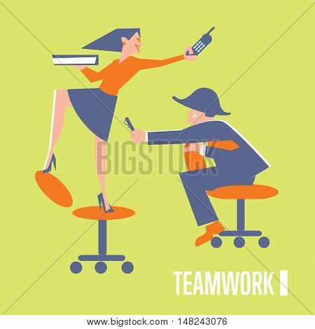 Happy active business people in working process. Teamwork banner, isolated vector illustration on green background. Togetherness and collaboration concept. Business office lifestyle design.