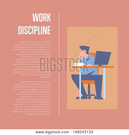 Young bewildered employee sitting at table with computer in office. Work discipline banner with space for text