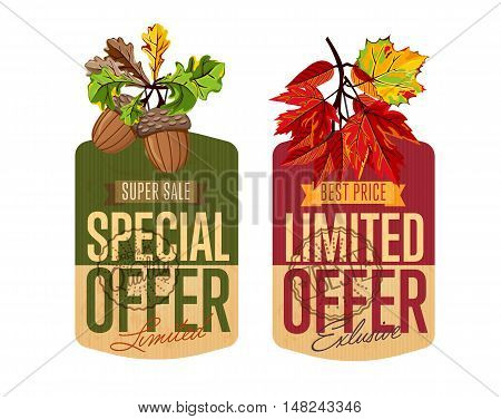Autumn sale vector illustration banners set. Exclusive limited offer and limited special offer labels in vintage style on white background with colorful autumn leaves. Retro design promotional badges