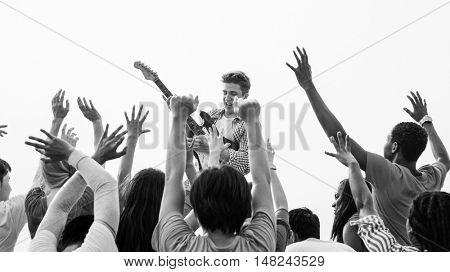Concert Guitar Joyful Happy Gathering Group Concept