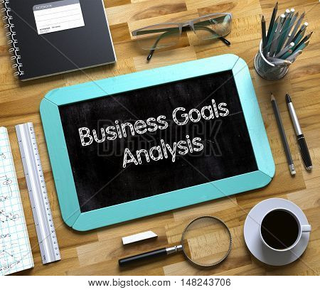 Small Chalkboard with Business Goals Analysis Concept. Business Goals Analysis Handwritten on Small Chalkboard. 3d Rendering.
