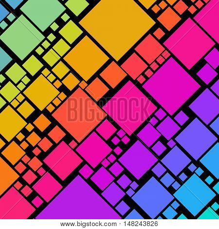 Lots of colorful square shapes in diagonal rows on black
