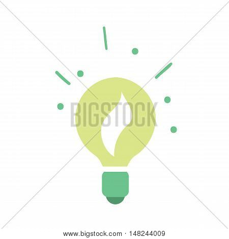 Vector illustration of light bulb with plant growing inside. Green power. Clean energy. Renewable resources concept. Eco lamp icon. Isolated object