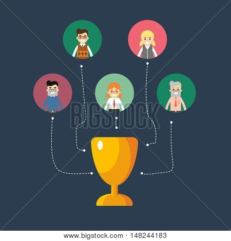 Social network and teamwork banner with connected people focused on winning, vector illustration on blue background. Communication mapping. Collaboration and partnership, working together. Win concept