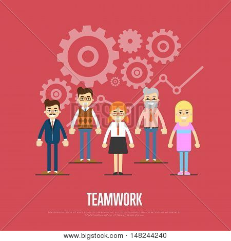 Group of smiling cartoon people on red background with gear mechanism. Teamwork banner, isolated vector illustration. Collaboration and partnership, working together. Business team