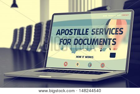 Modern Meeting Hall with Laptop on Foreground Showing Landing Page with Text Apostille Services For Documents. Closeup View. Toned Image. Selective Focus. 3D Render.