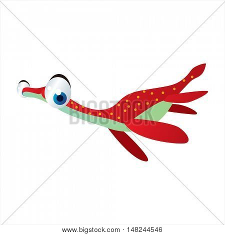 vector cool image of animal. Funny happy sealife creature. Water dinosaur.