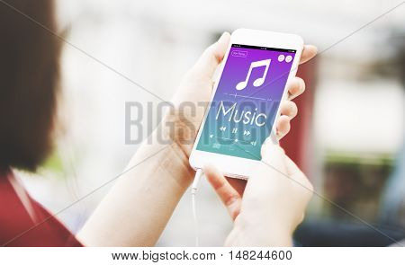 Hand Cellphones Music Lover Concept