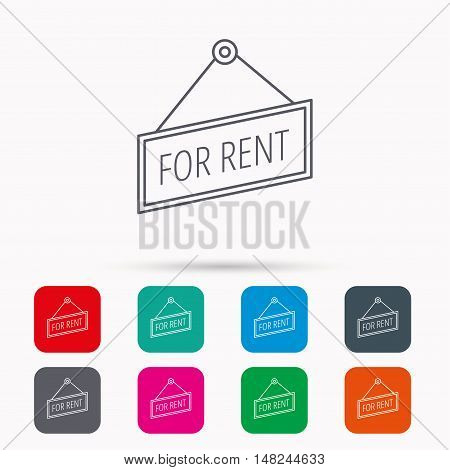 For rent icon. Advertising banner tag sign. Linear icons in squares on white background. Flat web symbols. Vector