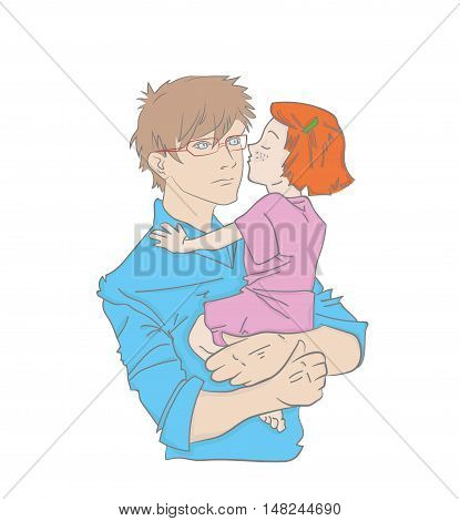 Happy Fathers Day. daughter hugging and kissing her father. vector illustration