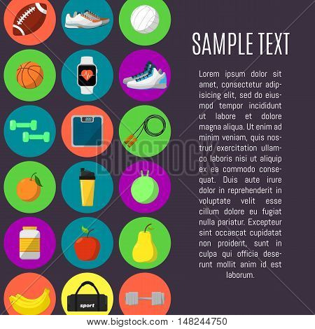 Sports and a healthy lifestyle banner, vector illustration in flat style. Different athletic equipments and nutrition supplements round icons in rows on purple background. Space for your text