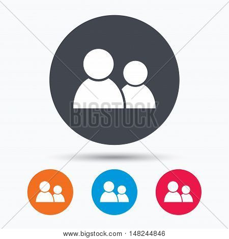 Friends icon. Group of people sign. Communication symbol. Colored circle buttons with flat web icon. Vector