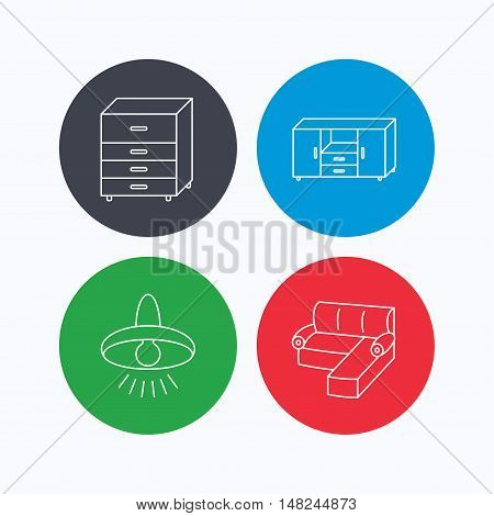 Corner sofa, ceiling lamp and chest of drawers icons. Furniture linear signs. Linear icons on colored buttons. Flat web symbols. Vector