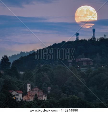 Turin (Torino) Church of St Vito at moonlight
