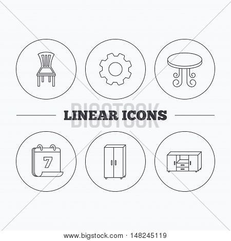 Chair, table and cupboard icons. Chest of drawers linear sign. Flat cogwheel and calendar symbols. Linear icons in circle buttons. Vector