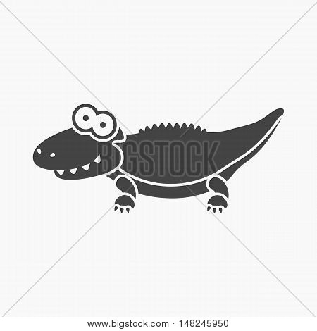 Crocodile black icon. Illustration for web and mobile.
