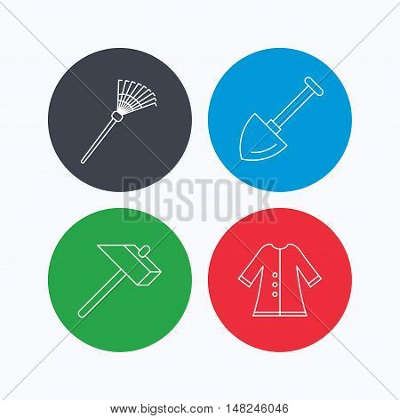 Shovel, hammer and cloak icons. Rake linear sign. Linear icons on colored buttons. Flat web symbols. Vector