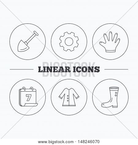 Shovel, boots and gloves icons. Cloak linear sign. Flat cogwheel and calendar symbols. Linear icons in circle buttons. Vector