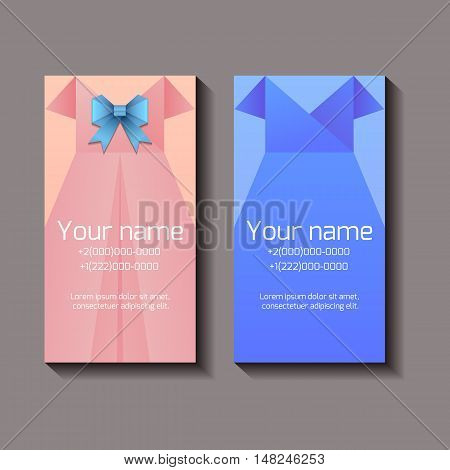 Template of vertical business cards with feminine dresses and place for text. Elements for presentations and your creativity