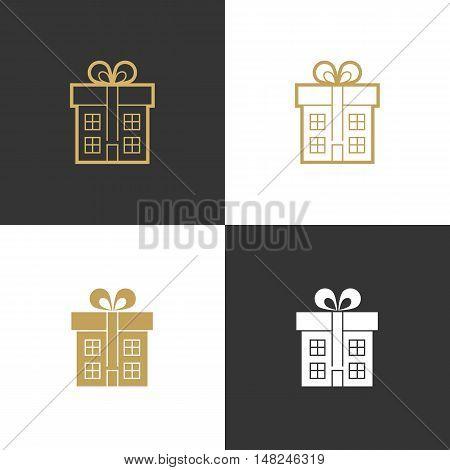 Realtor, agent, architect, real estate company luxury gold icon logo set.