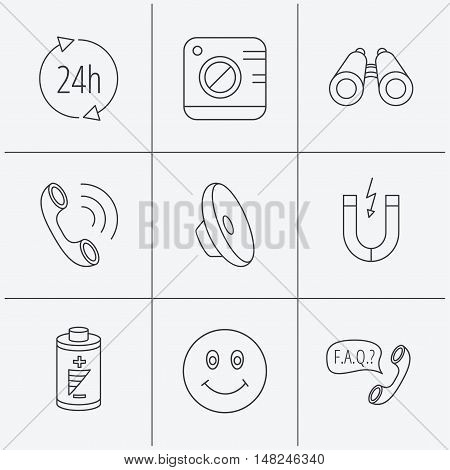 Phone call, battery and faq speech bubble icons. 24h service, photo camera and sound linear signs. Smile and search icons. Linear icons on white background. Vector