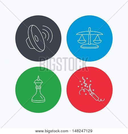 Scales of justice, sound and strategy icons. Slapstick linear sign. Linear icons on colored buttons. Flat web symbols. Vector