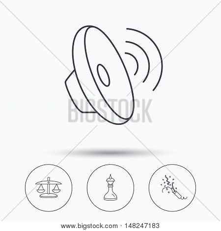Scales of justice, sound and strategy icons. Slapstick linear sign. Linear icons in circle buttons. Flat web symbols. Vector