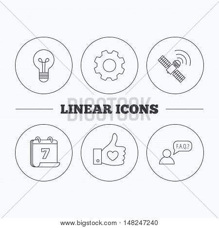 GPS, question and lightbulb icons. Thumb up, like linear sign.  Flat cogwheel and calendar symbols. Linear icons in circle buttons. Vector