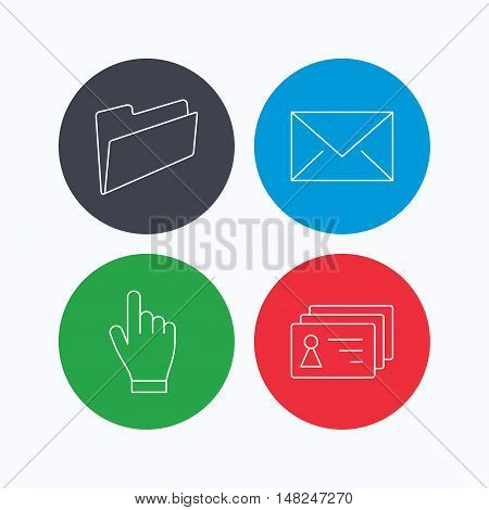 Folder, press hand and contacts icons. Mail linear sign. Linear icons on colored buttons. Flat web symbols. Vector