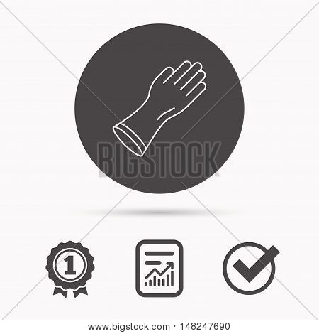 Rubber gloves icon. Latex hand protection sign. Housework cleaning equipment symbol. Report document, winner award and tick. Round circle button with icon. Vector