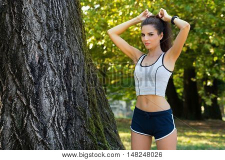 Beautiful Fit Female Getting Ready For Workout