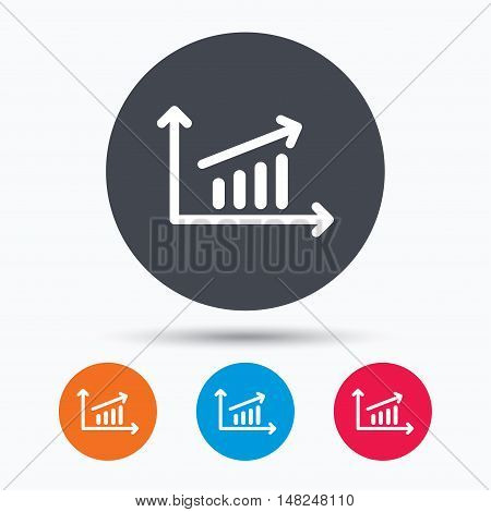 Growing graph icon. Business analytics chart symbol. Colored circle buttons with flat web icon. Vector