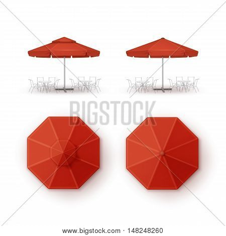 Vector Set of Red Blank Patio Outdoor Market Beach Cafe Bar Pub Restaurant Round Umbrella Parasol  for Branding Top Side View Mock up Close up Isolated on White Background.