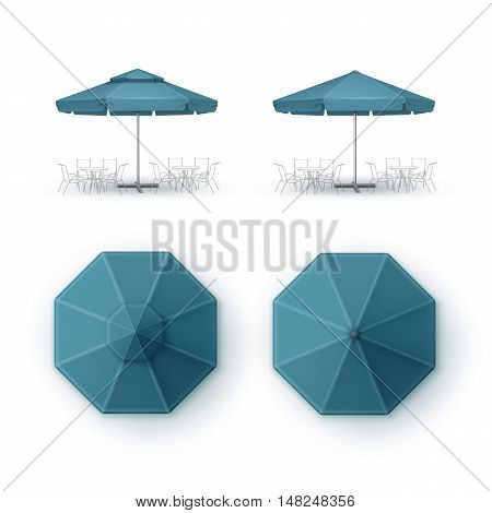 Vector Set of Blue Blank Patio Outdoor Market Beach Cafe Bar Pub Restaurant Round Umbrella Parasol  for Branding Top Side View Mock up Close up Isolated on White Background.
