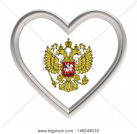 Russian emblem in silver heart isolated on white background. 3D illustration.