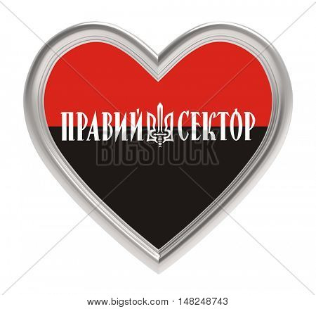 Right sector flag in silver heart isolated on white background. 3D illustration.