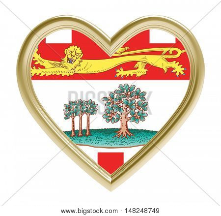Prince Edward Island flag in golden heart isolated on white background. 3D illustration.