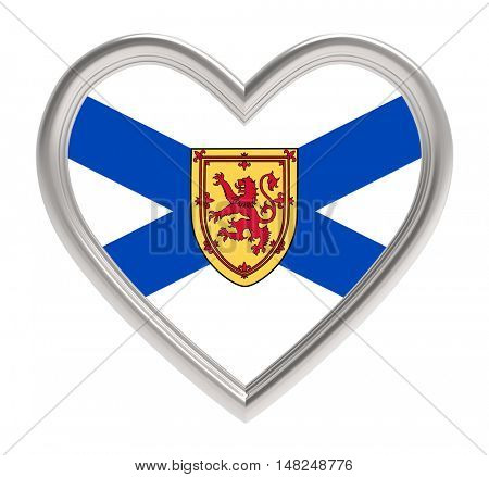 Nova Scotia flag in silver heart isolated on white background. 3D illustration.