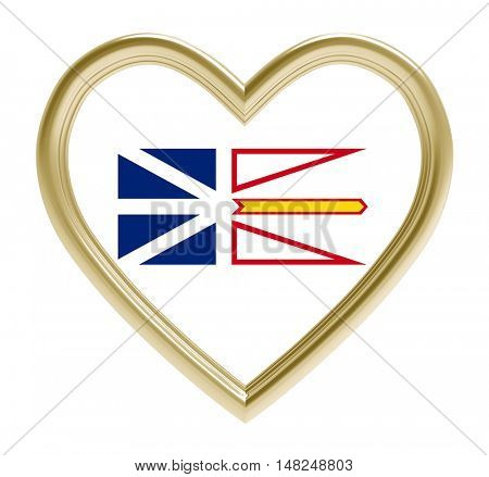 Newfoundland and Labrador flag in golden heart isolated on white background. 3D illustration.
