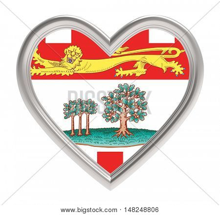 Prince Edward Island flag in silver heart isolated on white background. 3D illustration.