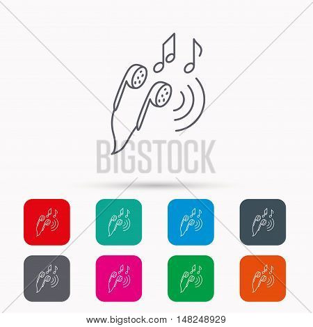 Headphones icon. Musical notes signs. Linear icons in squares on white background. Flat web symbols. Vector