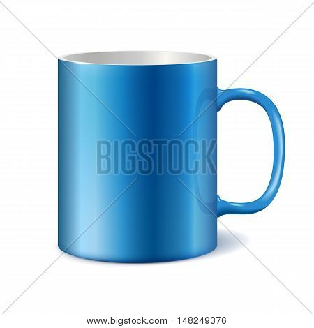 Blue and white ceramic mug for printing corporate logo. Cup isolated on white background. Vector 3D illustration