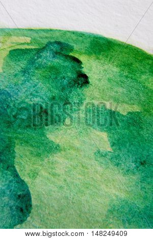 Macro Green with Blue Watercolour Textures 2