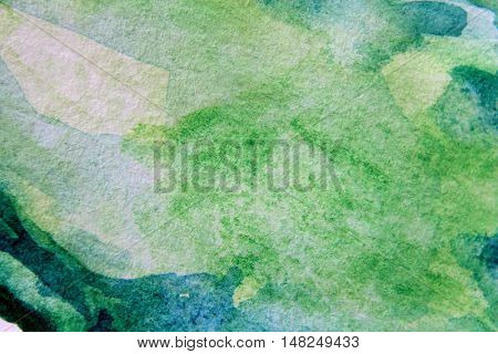 Macro Green with Blue Watercolour Textures 13