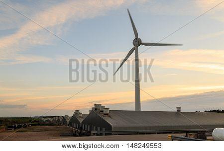 RAINWORTH ENGLAND - SEPTEMBER 18: Wind turbine Calor propane gas tanks and industrial units. In Rainworth England. On 18th September 2016.